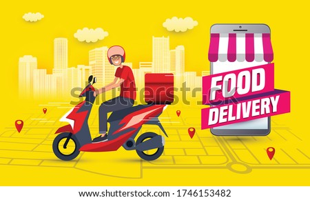 Online food order and food delivery service. Food delivery and fast food design for landing page, web, poster, flyer. Easy meal logistic with smartphone. Vector illustration. #1746153482