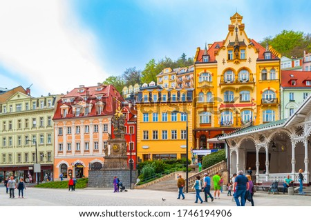 Top view of houses and architecture in Karlovy Vary, Czech Republic.  Karlovy Vary is a world famous spa #1746194906