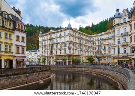 Houses and architecture in Karlovy Vary, Czech Republic. Karlovy Vary is a world famous spa #1746198047