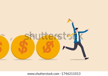 Cash flow, investment fund flow, fund raising, bank loan or financial activity to making money or profit concept, Businessman leader or investor holding flag control flow of money Dollar coins. #1746211013