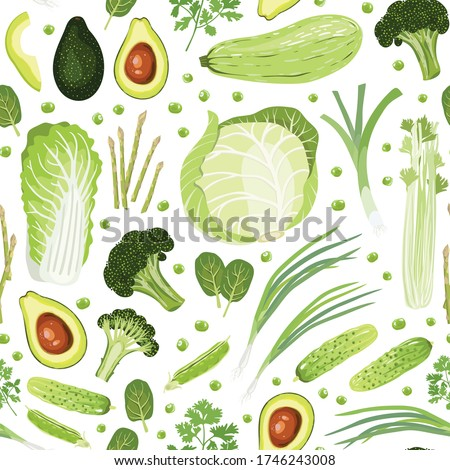 Seamless pattern of vegetables. Chinese-cabbage, White-cabbage, Squash, green Leek, Green onion, Tats, Asparagus, Broccoli, Avocado, Peas, cucumbers, Parsley, Celery. Healthy nutrition. Vegan. Vector. #1746243008