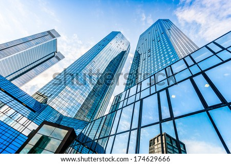 Bottom view of Deutsche Bank Twin Towers in the central business district of Frankfurt am Main, Germany. Frankfurt is the largest financial centre in Europe. #174629666