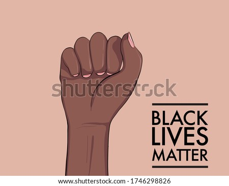 Stop racism. Black lives matter. African American arm gesture. Anti discrimination, help fighting racism poster, Politics tolerance acceptance banner concept. People equality united template in vetor. Royalty-Free Stock Photo #1746298826