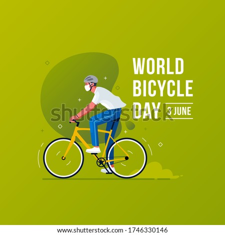 World Bicycle Day Concept. Men wear mask that ride bicycle
