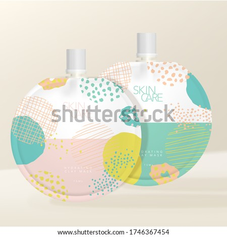 Vector Round Packet with White Screw Cap, Pastel Abstract Pattern Printed. Packaging Mockup for Face Mask, Body Lotion, Body Wash, Seasoning & Sauce. #1746367454
