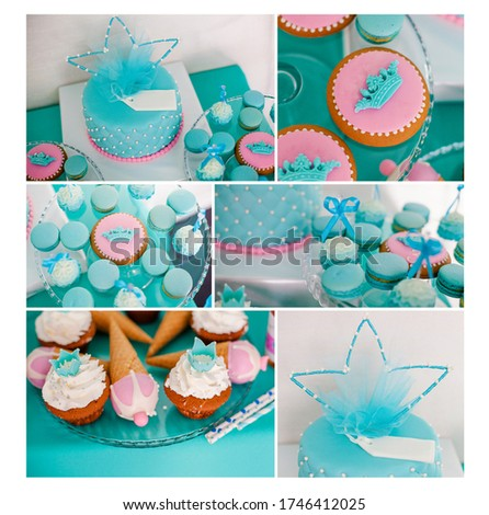 Blue summer time theme for party or birthday. Collage of five pictures of sweets, cupcakes, pop cakes.