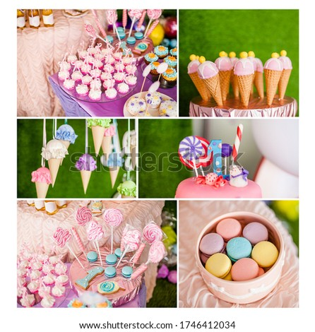 summer time theme for party or birthday. Collage of five pictures of sweets, cupcakes, pop cakes.