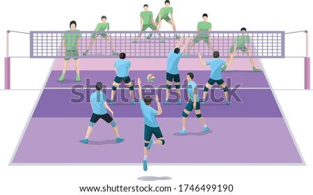 Volleyball match. Volleyball players play volleyball vector