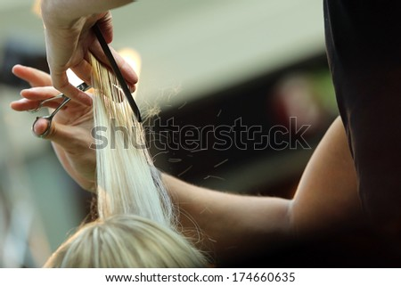 Hairdresser trimming blond hair with scissors #174660635