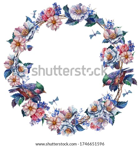 Watercolor blue color floral wreath Clip Art,bird,dragonfly.White and pink rose bouquets,Border,wedding stationary, greetings,wallpapers, fashion,template,postcards.Isolated on white backgrounds