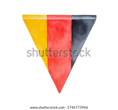 Watercolour drawing of bunting flag of Germany. One single object, triangular shape. Hand drawn water color sketchy illustration on white backdrop, cut out clip art element for design, banner, poster.