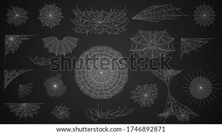 Set Collection Cobweb Spiderweb For Halloween Design Elements Spooky Scary Horror Decor Vector