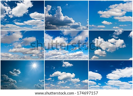 White clouds in blue summer sky background #174697157