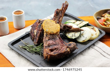 Roasted Rack of Lamb on Stone Plate, Landscape Picture