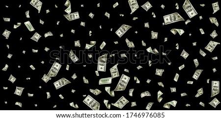 Dollar sign. American money. Cash black background, us bill. Money falling.