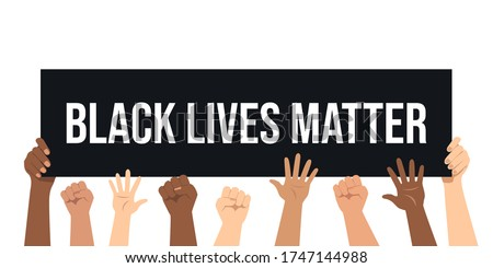Black lives matters. Social poster, banner. Stop racism police violence. I can't breathe. Flat vector illustration Royalty-Free Stock Photo #1747144988