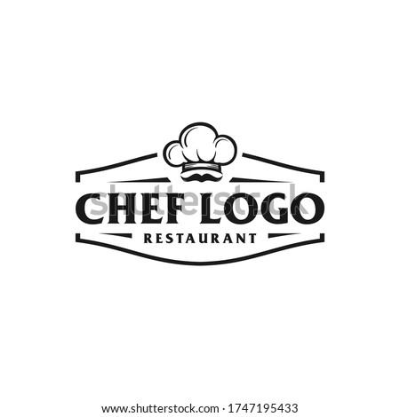Chef and restaurant simple retro logo design with a cap / chef hat Royalty-Free Stock Photo #1747195433