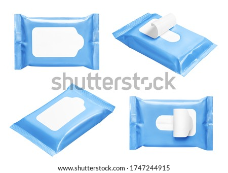 Blue wipes flow packs collection, isolated on white Royalty-Free Stock Photo #1747244915