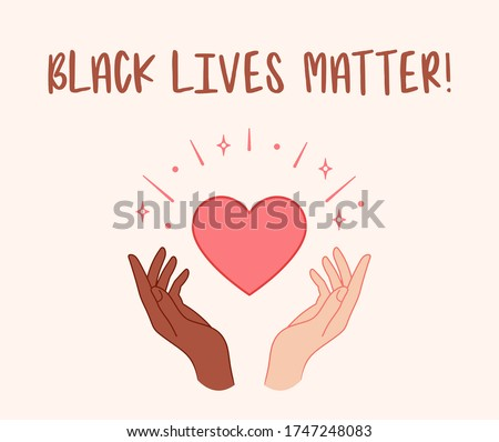 Black lives matter. Hands holding red heart. Vector illustration Royalty-Free Stock Photo #1747248083