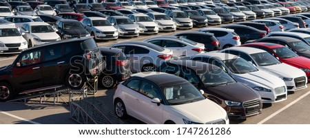 Cars in a row. Used car sales Royalty-Free Stock Photo #1747261286