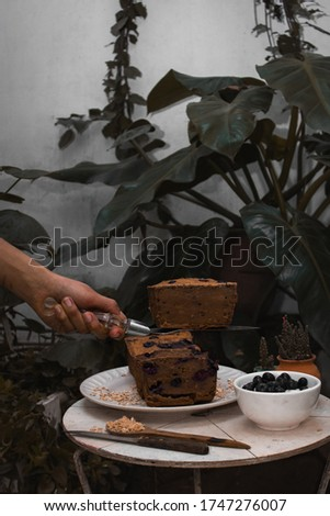 blueberry cake with flaked oatmeal