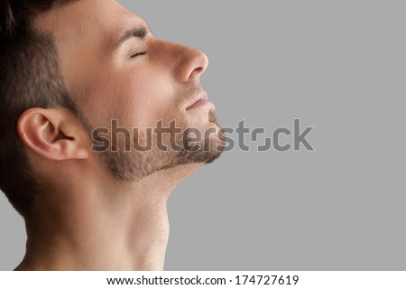 Handsome beard man. Side view of handsome young beard man keeping eyes closed while standing isolated on grey background #174727619