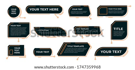 Digital callout titles set. Futuristic textboxes templates, frame boxes with text sample. Flat vector illustration for presentation or infographics content concepts Royalty-Free Stock Photo #1747359968