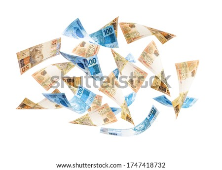 Fifty and one hundred reais bills falling, money from Brazil on isolated white background. One hundred and fifty dollar bills flying, concept of fortune, wealth, grand prize or lottery Royalty-Free Stock Photo #1747418732