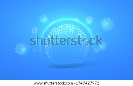 Bubble shield virus and infection protection vector illustration on a blue background. The sphere in the form of a force energy field or barrier is protected from external factors in an abstract style #1747427972