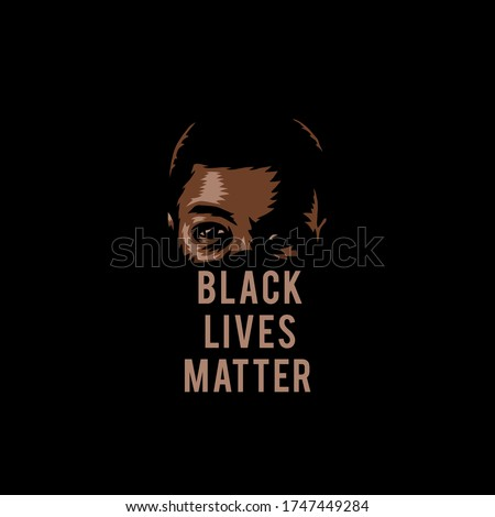 Vector illustration of black lives matter, isolated on black background Royalty-Free Stock Photo #1747449284