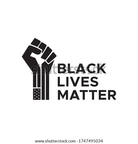I Can't Breathe, Black Lives Matter. Protest Banner about Human Right of Black People in US. Black Lives Matter Illustration with Strong Fist. America. Vector Illustration.  #1747495034