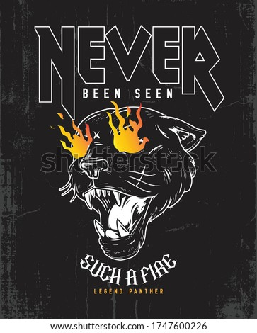 Heavy metal fire printing poster tee design. Rock and roll band. Legend Black Panther. Legendary Typography Graphics. T-shirt Printing Design. Concept in vintage graphic style for print production. #1747600226