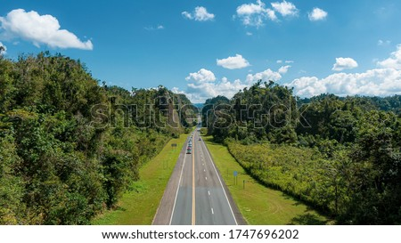 An aerial view of the 10th street in direction to Utuado, Puerto Rico Royalty-Free Stock Photo #1747696202