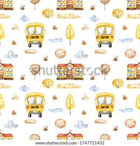 School bus, school building, trees, clouds on a white background. Watercolor seamless pattern