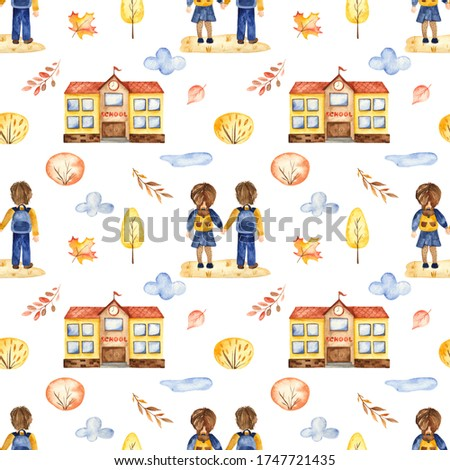 School students, school building, trees, autumn leaves on a white background. Watercolor seamless pattern