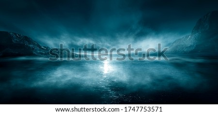 Modern futuristic fantasy night landscape with abstract islands and night sky with space galaxies. Multicolor neon glow. Reflection of light in water, stars. Empty scene, landscape.