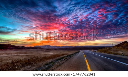 Sunset valley highway road landscape. Sunset road sky clouds. Highway road sunset sky #1747762841