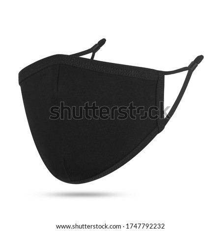 Blank black cotton reusable cloth mask isolated on white background. Front view. Empty surgical mask for mockup. Clear protective face mask for template & branding. Studio Photography #1747792232