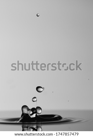 Selective Focus black and white picture of crystalline water drops splashing water