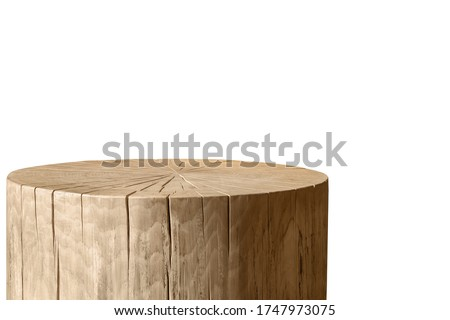 Decorative round wooden table on white background. Royalty-Free Stock Photo #1747973075