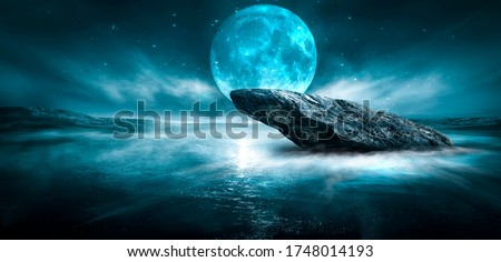 Modern futuristic fantasy night landscape with abstract islands and night sky with space galaxies. Multicolor neon glow. Reflection of light in water, stars. Empty scene, landscape. #1748014193