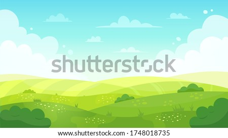 Cartoon meadow landscape. Summer green fields view, spring lawn hill and blue sky, green grass fields landscape vector background illustration. Field grass, meadow landscape spring or summer Royalty-Free Stock Photo #1748018735