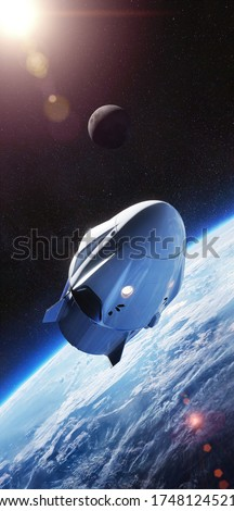 Crew Dragon spacecraft of the private American company SpaceX in space. Dragon is capable of carrying up to 7 passengers to and from Earth orbit, and beyond. Elements of this image furnished by NASA.