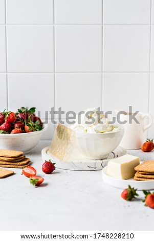 No Bake Strawberry Cheesecake Ingredients: Butter and Crackers for the Crust, Cream Cheese, Cream, Gelatin and Strawberries for the Filling, copy space for your text Royalty-Free Stock Photo #1748228210