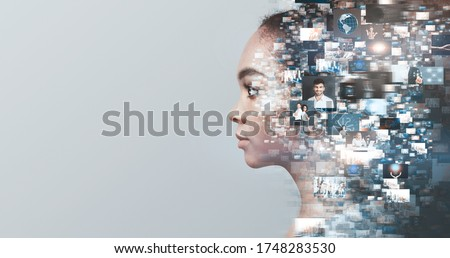 Creative ideas, knowledge and skills of person in social network. Profile african american girl overlap a lot of photos, isolated on gray background #1748283530