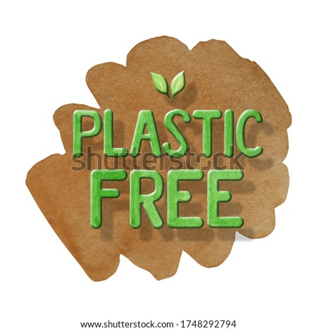 No Plastic free Green icon sign Watercolor hand drawn lettering illustration isolated on brown background. Ecological design. Recycled zero waste lifestyle. ECO friendly, Recycle Reuse Reduce concept.