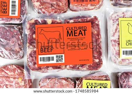 Cultured beef meat concept for artificial in vitro cell culture meat production with frozen packed raw meat with label #1748585984