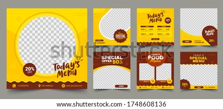 Set of Editable square banner template design for food post on instagram. Suitable for Social Media Post restaurant and culinary digital Promotion. Red and Yellow background color shape vector. #1748608136