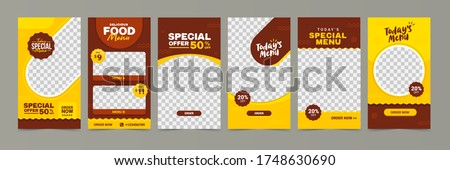 Food instagram story post template design. Suitable for Social Media Post Restaurant and culinary Promotion. Set of Editable sale banners Red and Yellow background color with stripe line shape vector. Royalty-Free Stock Photo #1748630690