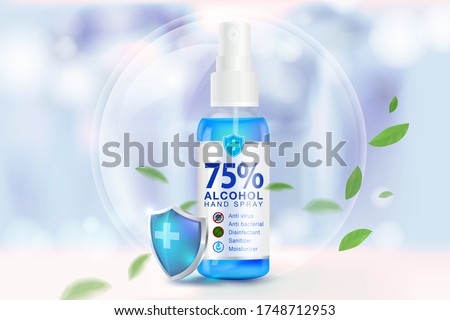 Hand sanitizer spray 75% alcohol components, kill up to 99.99% of covid-19 viruses, bacteria and germs on a blurred light blue background. Pack in clear plastic bottles used to spray.Realistic file. #1748712953